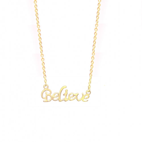 "ESN 4132: ""Believe"" Gold Plated Necklace"