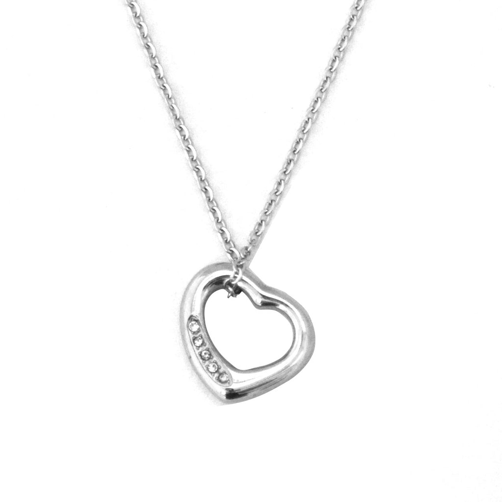 ESN 4681: Rachel Heart Necklace w/ 5 Cz Side Accents