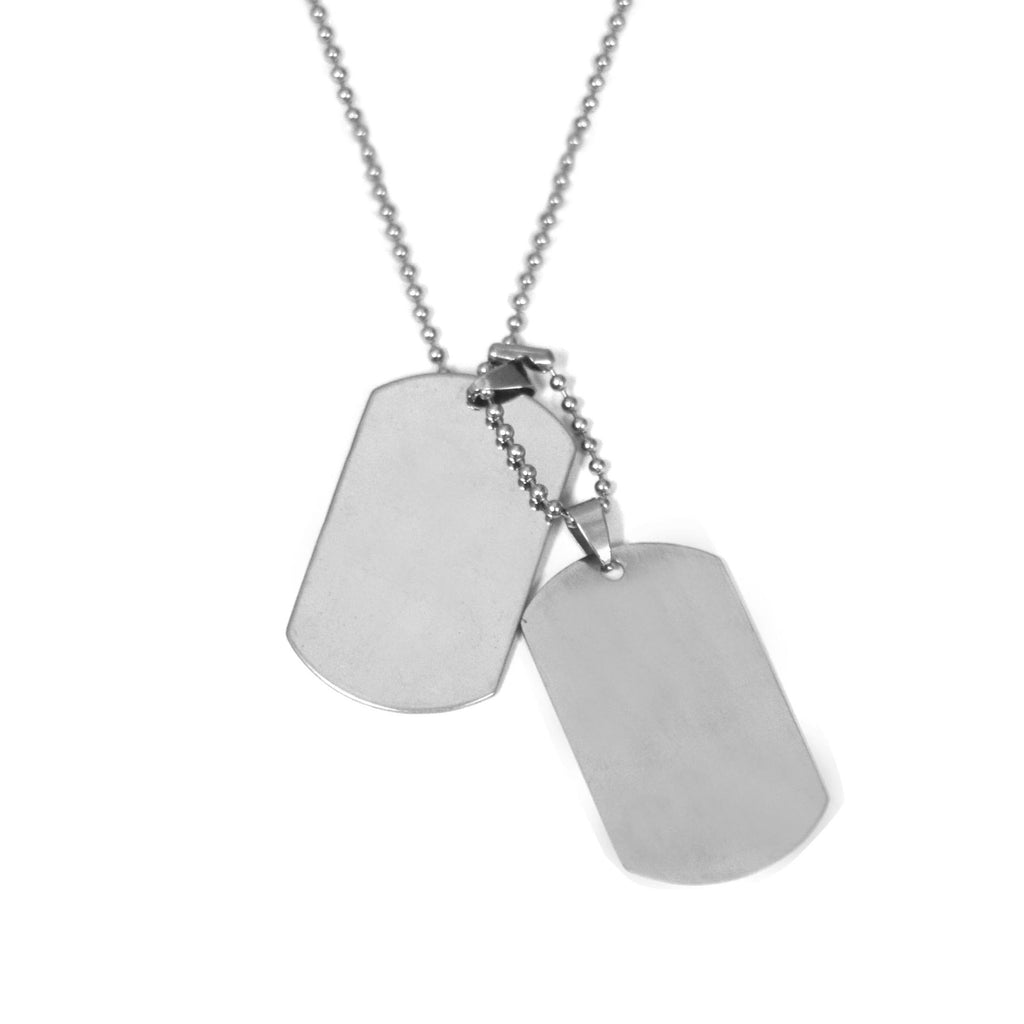 "ESN 4693: Double XL Dog Tag Necklace w/ 24"" Chain (w/ Free Face Engrave)"