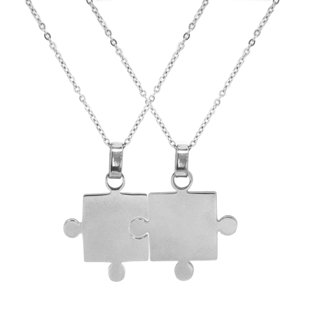 "ESN 5550: Couple Jigsaw Necklace w/ 17.5"" Link Chain"