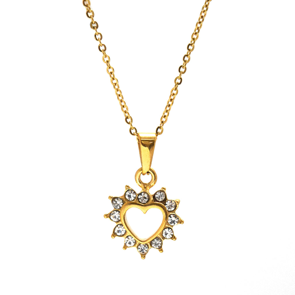 "ESN 4890: Gold Plated 12-Cz Sacred Heart Necklace w/ 19"" Chain"
