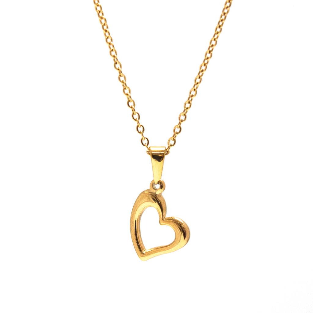 ESN 6176: Gold Plated Glossy Heart Outline Necklace