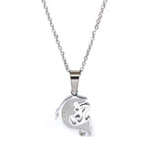 "SET 5031: Grows Heart w/ 1 Cz Couple Necklace Set (w/ 19"" S/S Chain)"