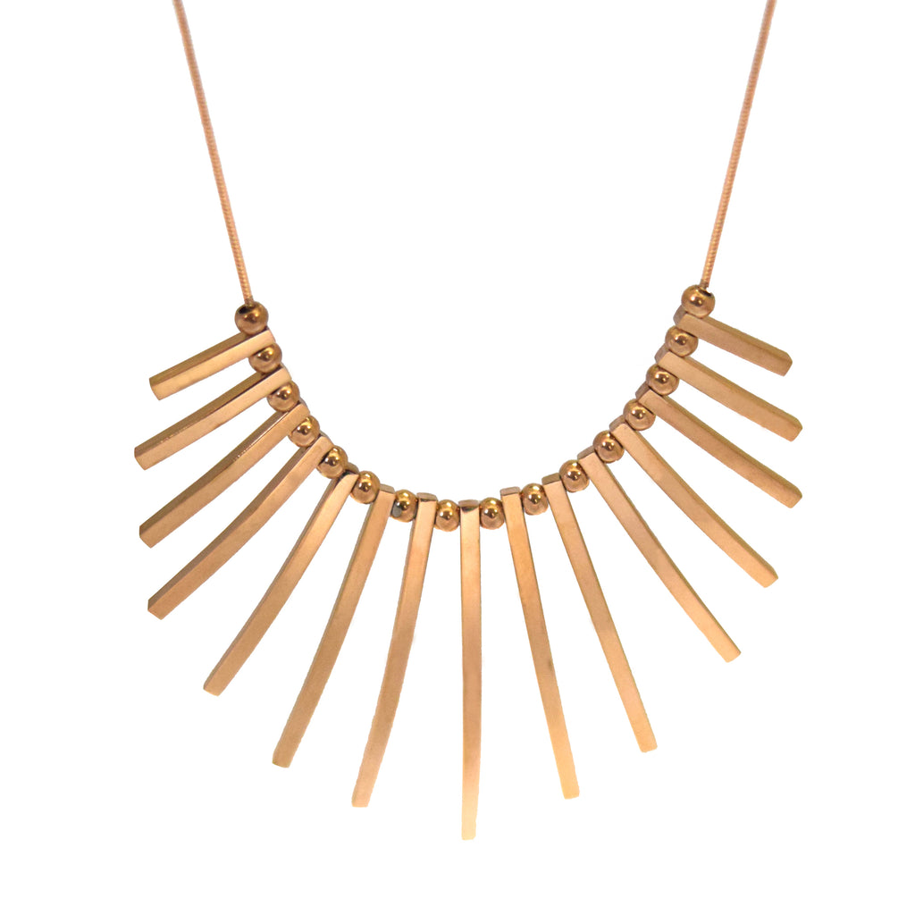 ESN 5045: Elegant Rose Gold Tribal Bar Necklace