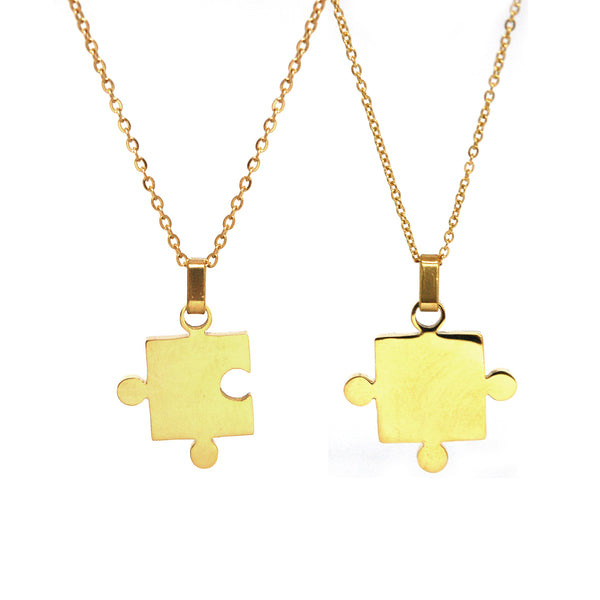 SET 5094: Gold Plated Jigsaw Puzzle Couple Necklace Set (Left and Right)