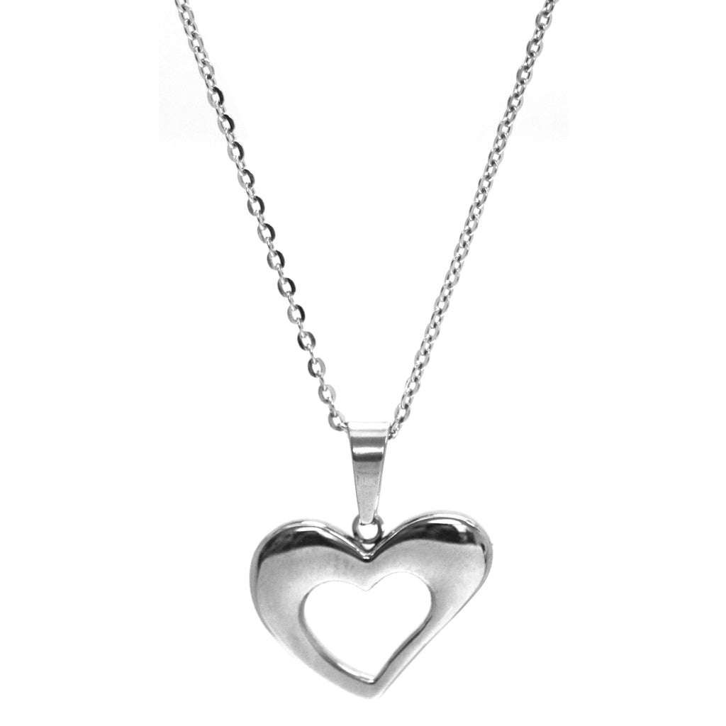 "ESN 5107: Tilted Heart Outline Necklace w/ 17"" Chain"