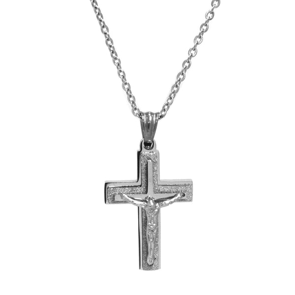 ESN 5205: Double Crucifix Necklace w/ Jesus Christ Ctr & 19