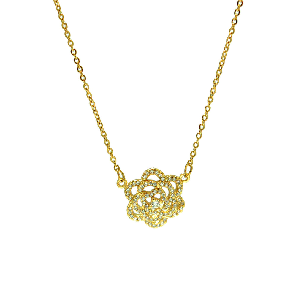 "ESN 5834: Gold Plated Cz-Studded 3-Layer Flower Necklace (w/18""+2"" Chain)"