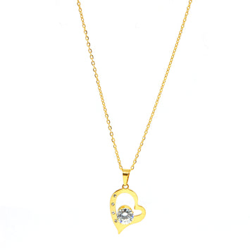SET 6826:  Gold Plated Heart w/ 7mm Cz Solitaire Necklace & Earrings Set