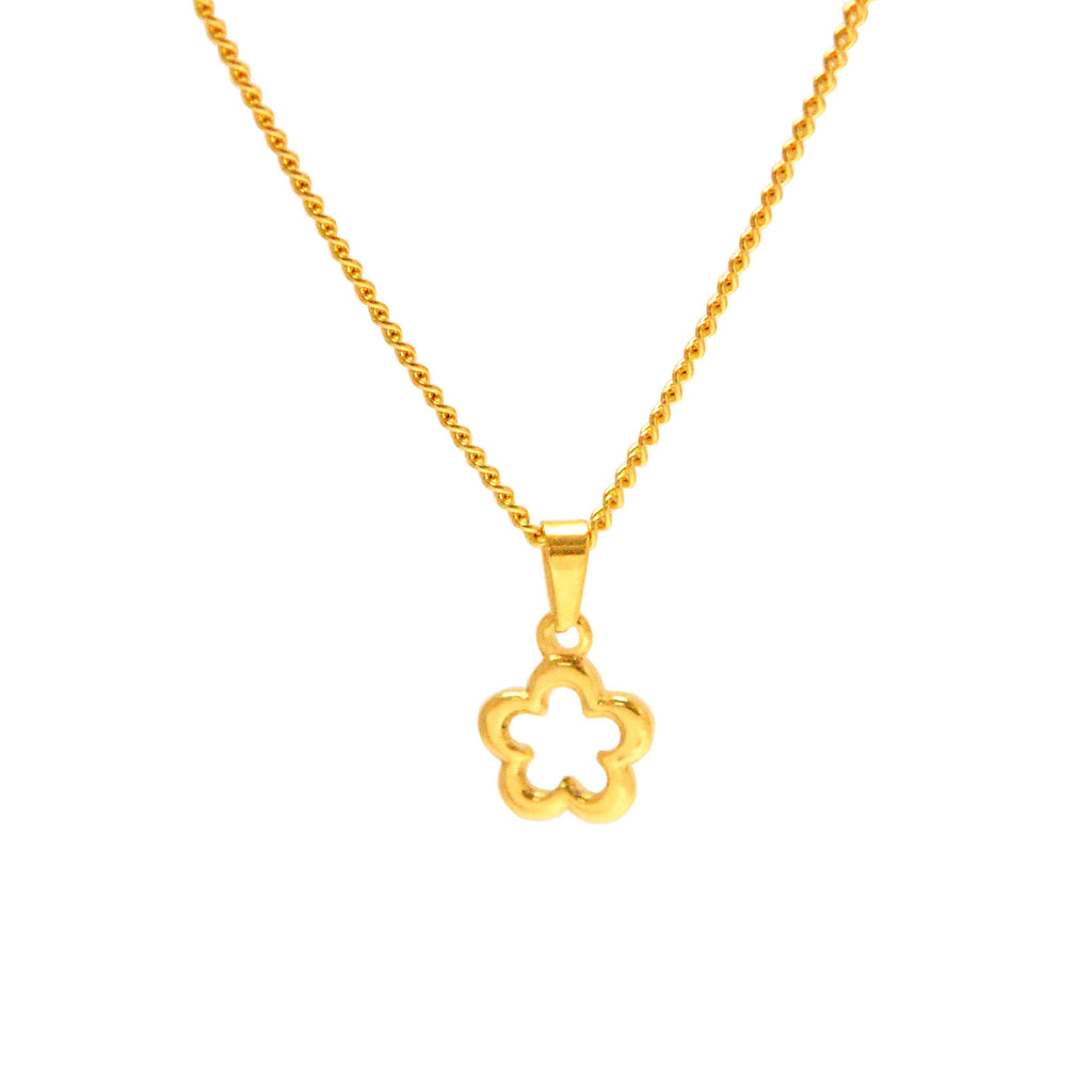 "ESN 5519: Gold-Plated Cutie Flower Necklace w/ 19"" P/O Chain"