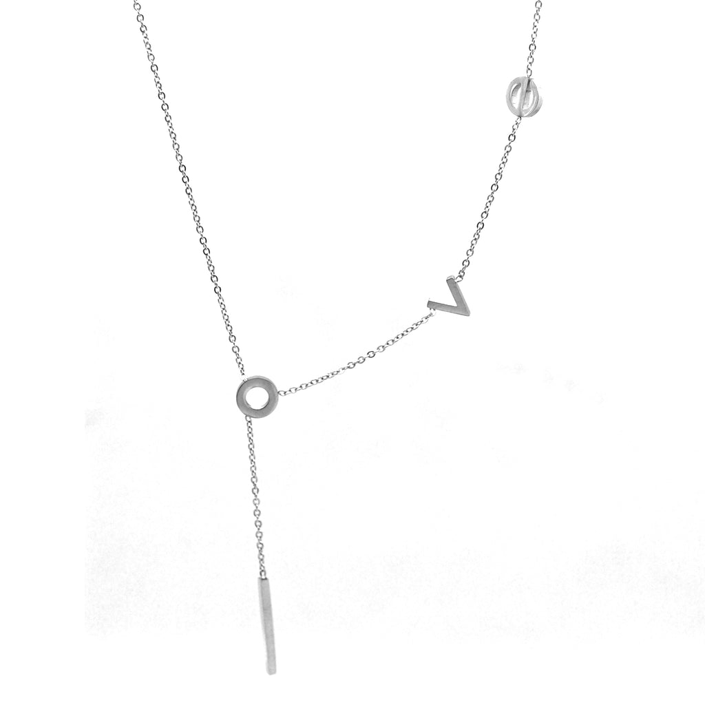 "ESN 5577: L-O-V-E Outline Necklace w/ Extendable 1.5"" Chain"