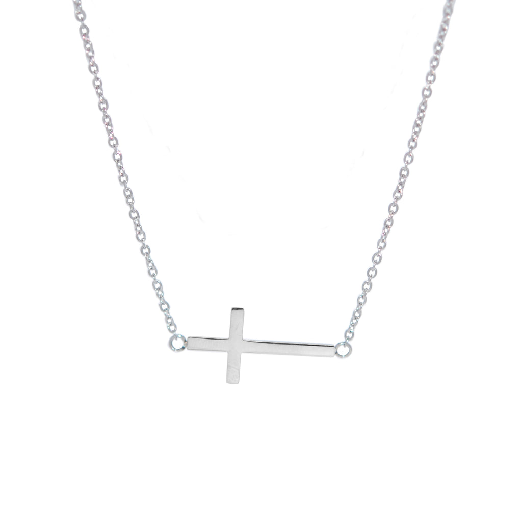 "ESN 5702: Flat Crucifix Necklace w/ 17.5"" + 2"" Med Link Chain"