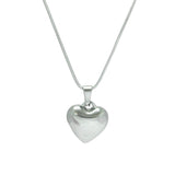 "ESN 5755: Solid Heart Necklace w/ 17"" Snake Chain"