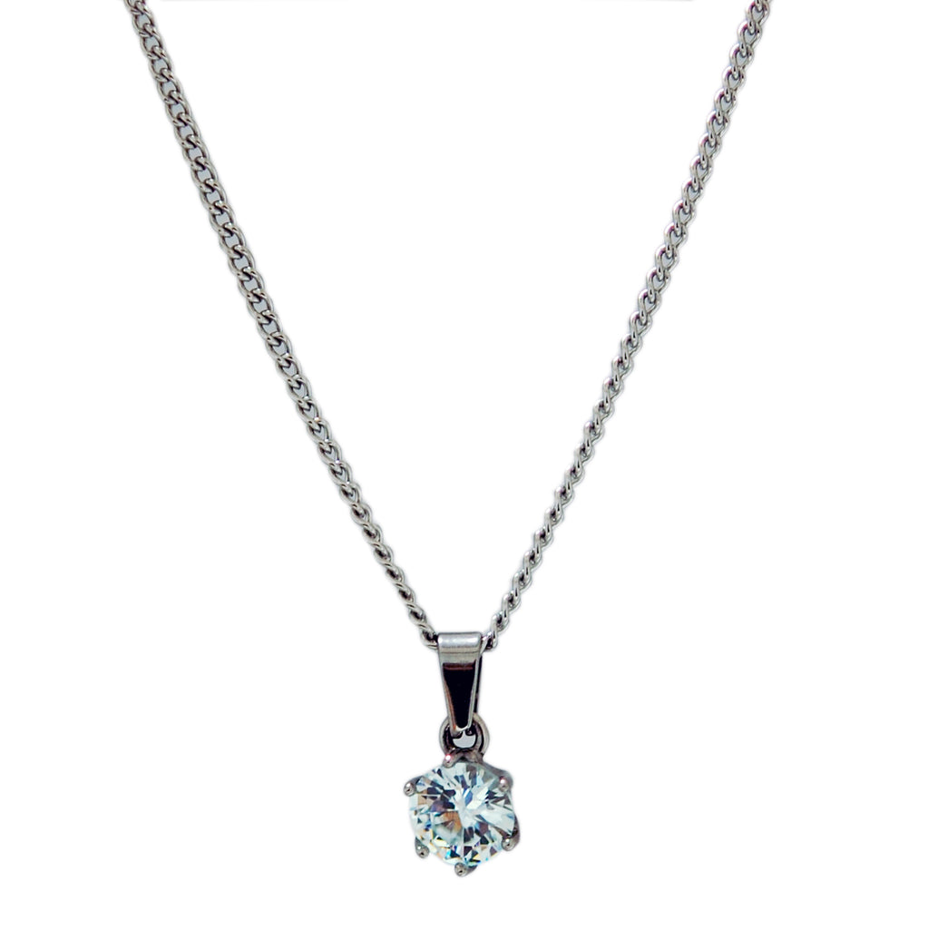 "ESN 5788: 7mm Circle Solitaire Necklace w/ 19"" P/O Chain"