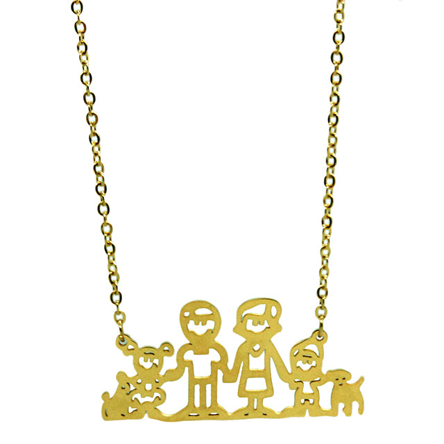 "ESN 5914: Gold Plated ""One Happy Family"" Outline Necklace"