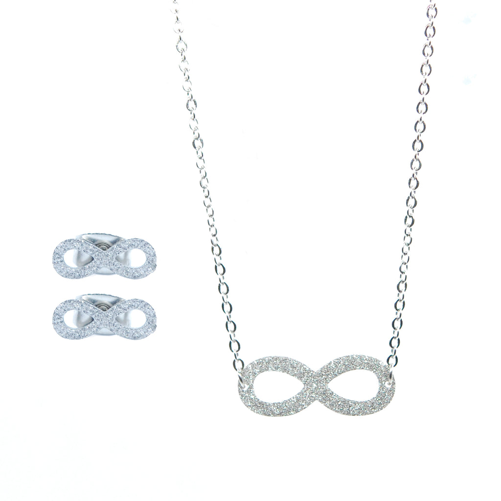 SET 6015: Sandblasted Infinity Necklace & Earrings Set