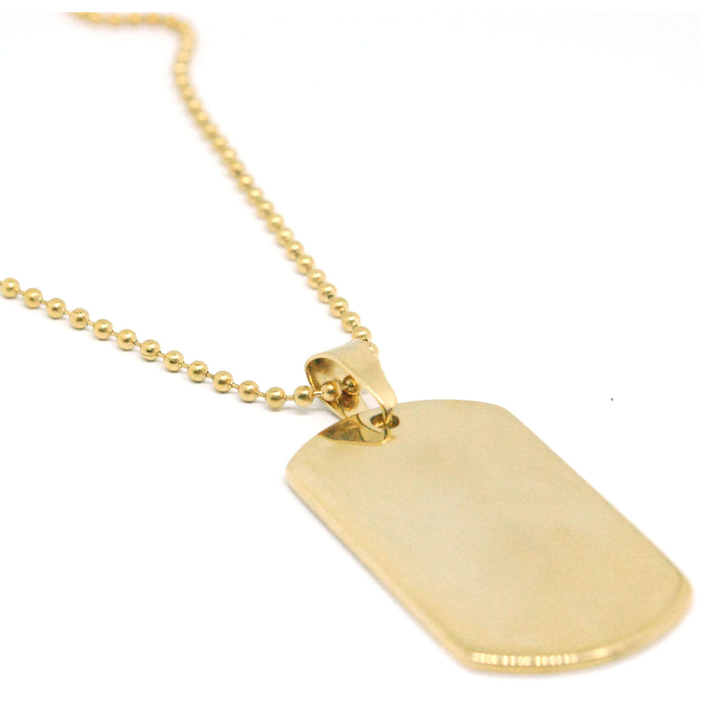 "ESN 6439: Medium Gold Plated Dog Tag Necklace w/ 23"" Ball Chain (Free Face Engrave)"