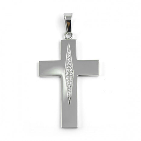 ESP 3136: Gloss Flat Cross w/ Pave Long Marquise Cubic Zirconia
