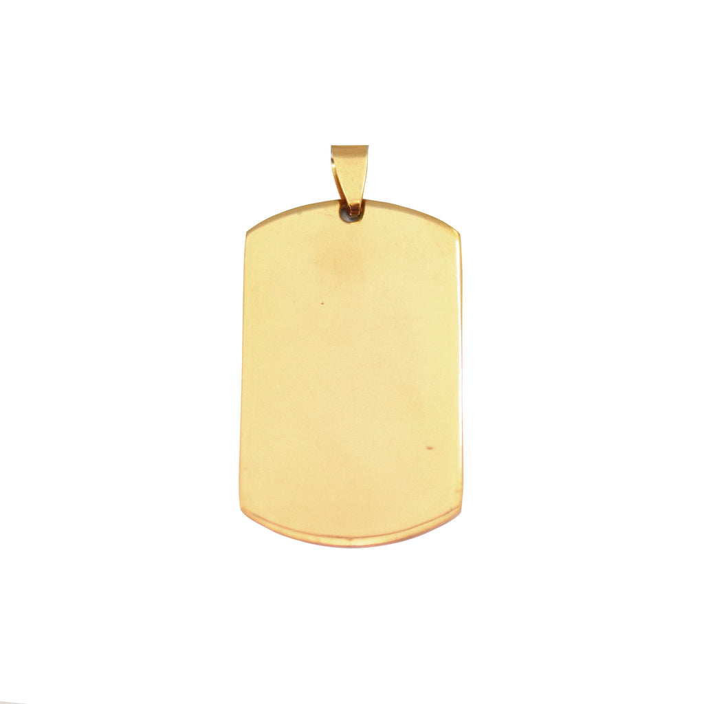ESP 5267: Gold Plated Medium Dog Tag w/ Free Face Engrave
