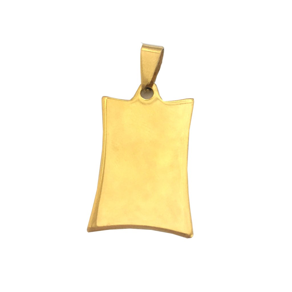 ESP 5231: Gold Plated Medium Concave Rectangular Dogtag w/ Free Face engrave