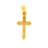 ESP 5672: Gold Plated Double Crucifix w/ 12 Mini Cz