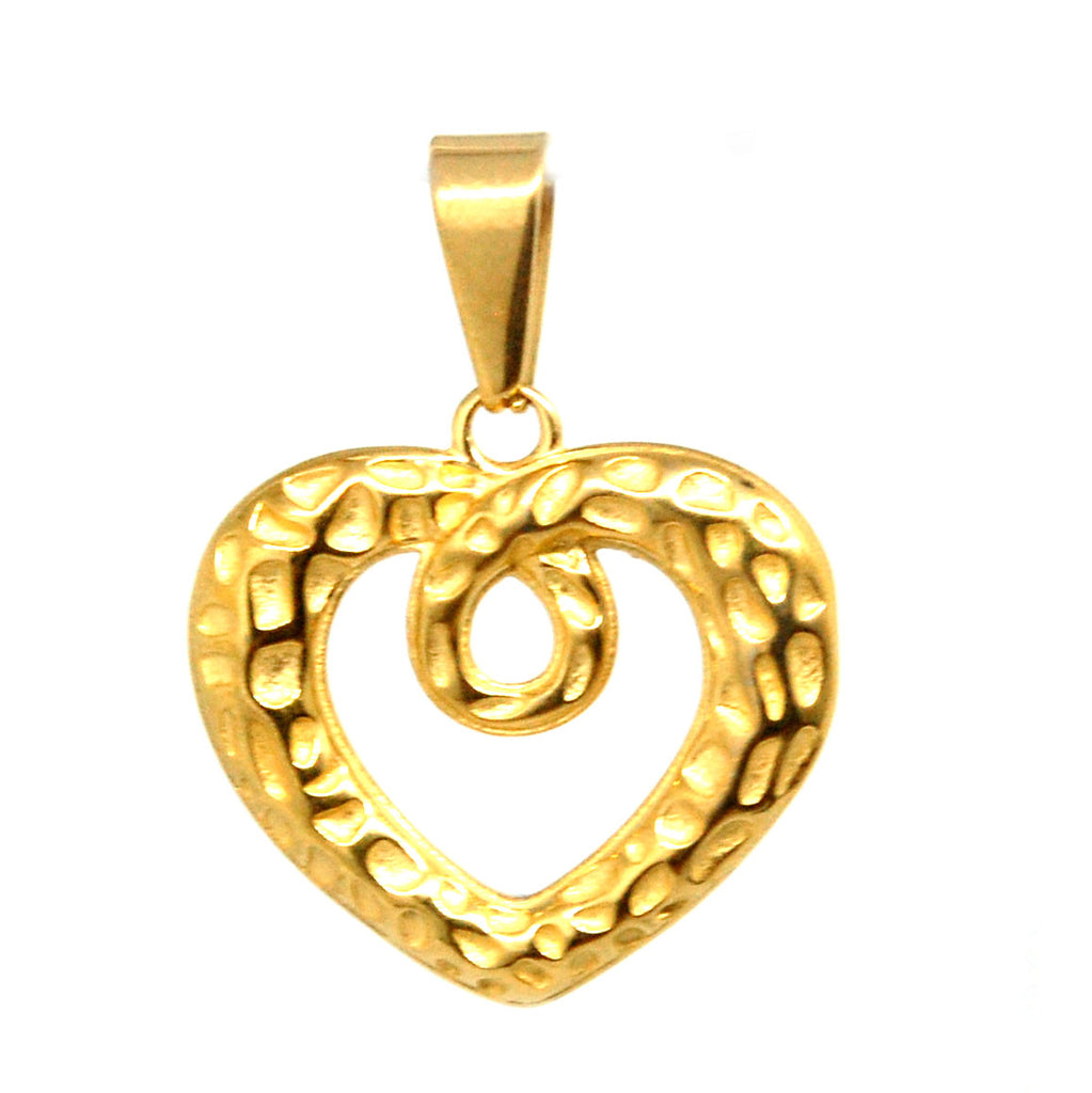 ESP 5730: Gold-Plated Twisted Rocky Heart Pendant