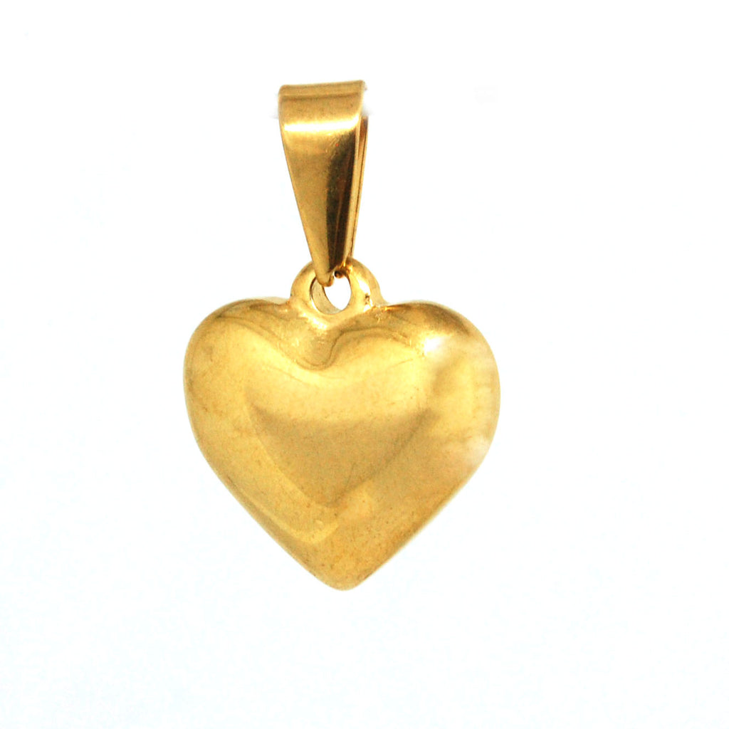 ESP 5746: Gold-Plated Med Solid Heart Pendant