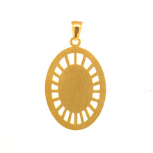 ESP 6023: Gold Plated Virgin Mary w/ Child Oval Pendant (& 11 Cubic zirconia Stones)