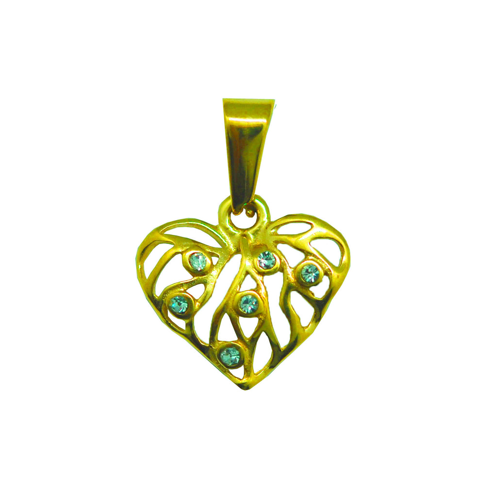 ESP 6102: Gold Plated Tree Of Love Heart Pendant 6 Cz