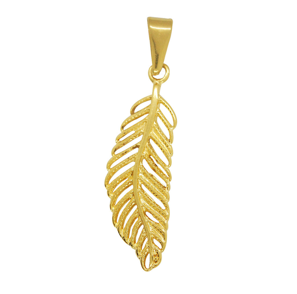 ESP 6154: Gold Plated Etched Lucky Feather Pendant