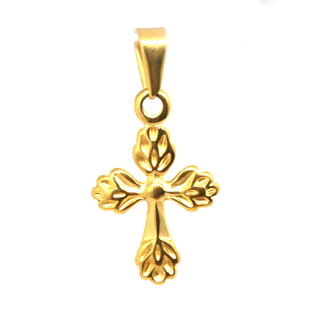 ESP 6169: Gold Plated Feathered Fiery Crucifix Pendant