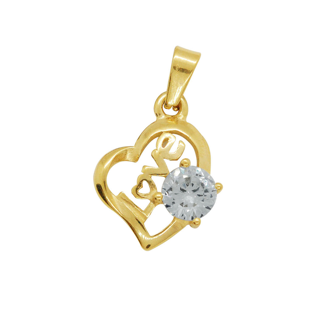 ESP 6218: Make - Your - Own Gold PLated Love Heart w/ 6mm Cubic Zirconia Circle Pendant
