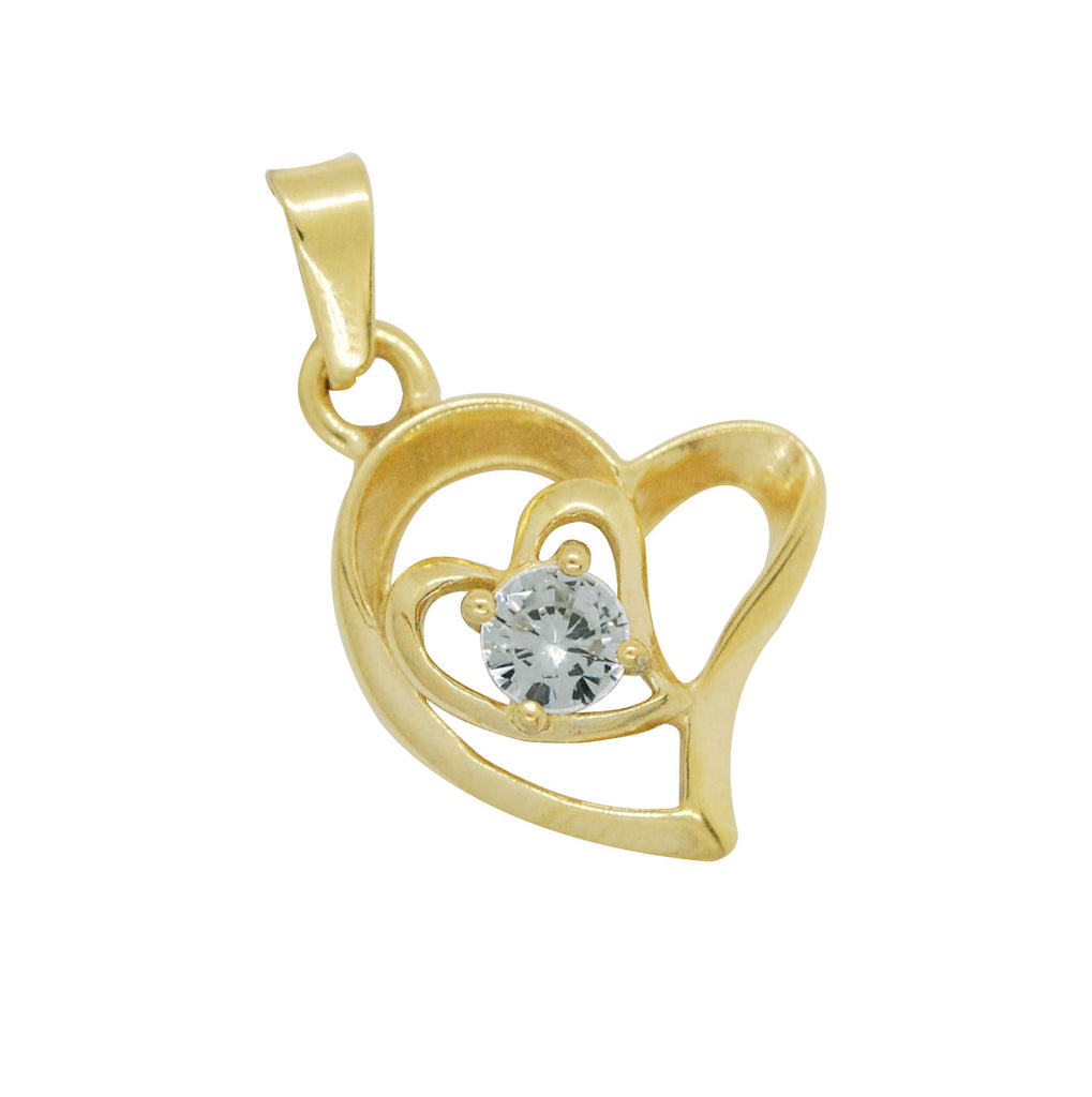 ESP 6219: Make - Your - Own Gold Plated Double Heart w/ 5mm Cubic Zirconia Circle Pendant