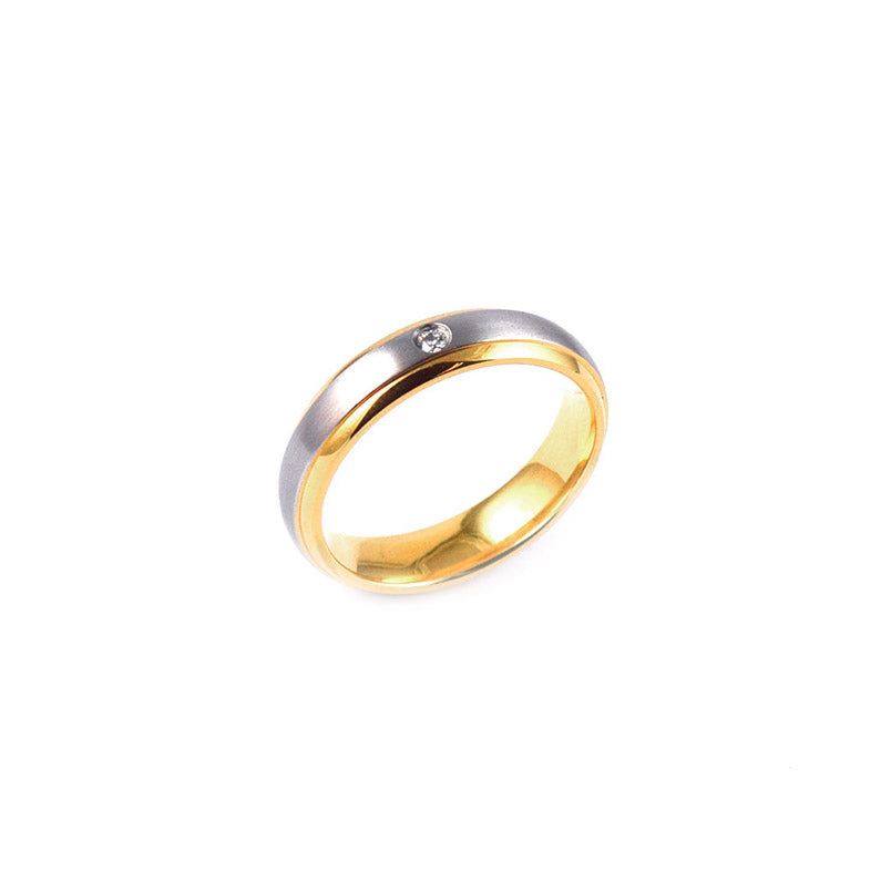 ESR 6484: Patricia Comfort Fit Satin Band with Yellow Gold Sides & Small Cubic Zirconia