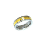 ESR 6632: Annie Glossy Ring w/ Gold Center Band & 1 Cubic zirconia