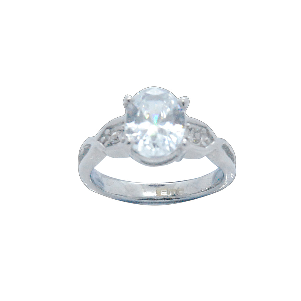 ESR 5845: Meghan 1.75 Carat Oval Cubic Zirconia Ring w/ Pinched Cubic Zirconia sides