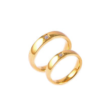 ESR 6477: Michelle Flat Gold Plated 4mm Band w/ 1 Cubic Zirconia Center
