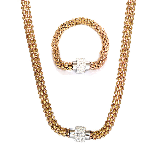 SET 5004: Rose Gold Dragon Scale Necklace & Bracelet Set w/ Cubic Zirconia Studded Barrel Lock