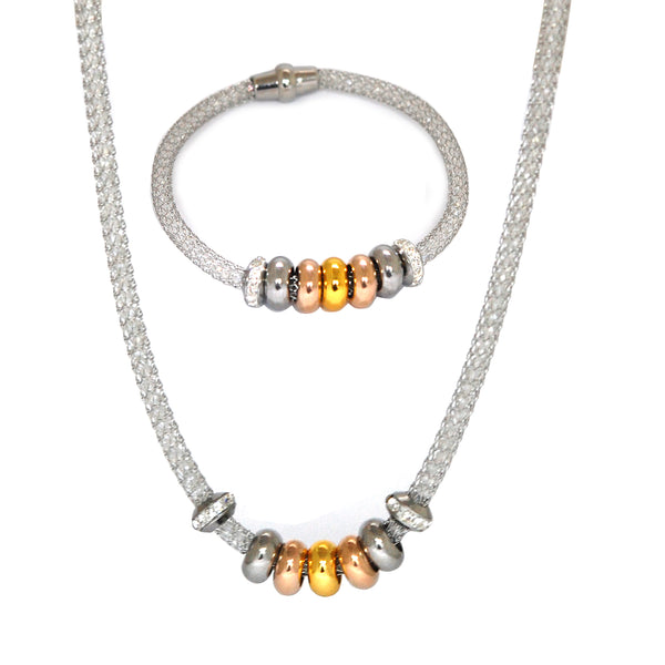SET 5010: Thin Swarovski Mesh Necklace & Bracelet Set w/ Seven 3 - Tone Charm