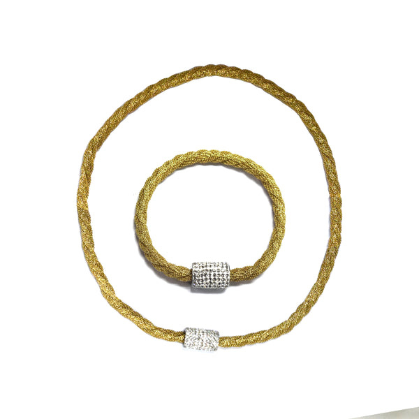 SET 5028: Yellow Gold Tightly Twisted Mesh Necklace & Bracelet Set w/ Cz Studded Lock