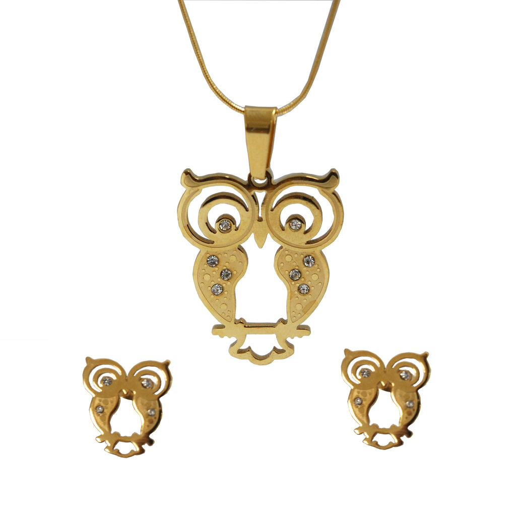 SET 5263: Gold Plated The Wise Owl Earring & Necklace Set