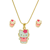 SET 5616: Gold Plated Hello Kitty w/Pink Dress Necklace & Earrings Set