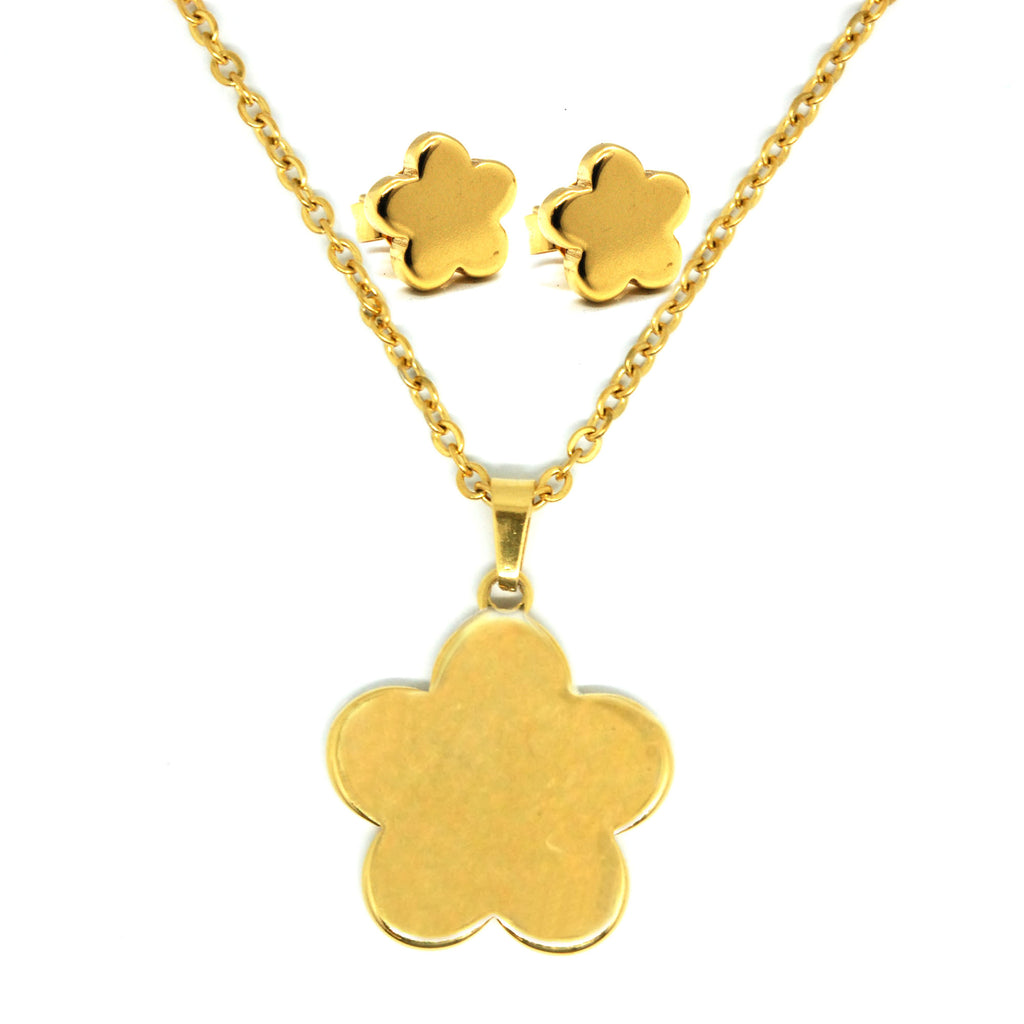 SET 5720: Gold-Plated 5-Petal Fat Flower Necklace & Earrings Set