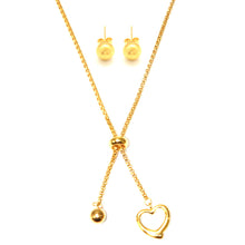SET 6636: Gold Plated 7mm Aira Ball Studs & Adjustable Belcher Necklace & Heart Set
