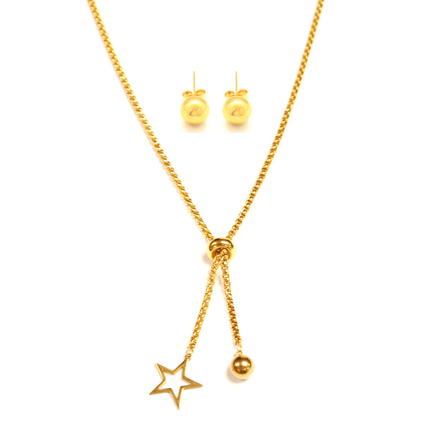 SET 6635: Gold Plated 7mm Aira Ball Studs & Adjustable Belcher Necklace w/ Star Charm Set