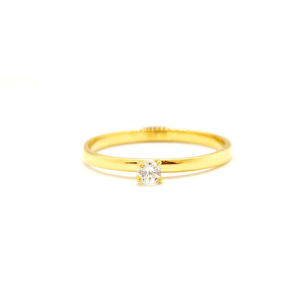 ESR 6550: Twinkle 0.12-Ct Cz Solitaire w/ Gold Plated Band Ring