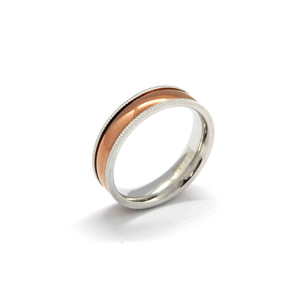 ESR 4623: Abbie Rose Gold Glossy Ring w/ Side Milgrain