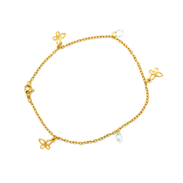 ESA 5694: Gold-Plated Rounded Butterfly Anklet w/ 2 Cubic Zirconia Charms