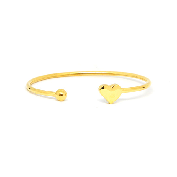 ESBG 6784 :  Gold PLated Thin Bangle w/ Fluttery Heart End
