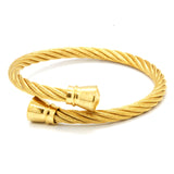ESBG 6570: Gold-Plated Charriol Bangle w/ Gold-Plated Barrel Ends